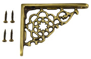 4 Inch Solid Brass Star Shape Shelf Bracket (Antique Brass)