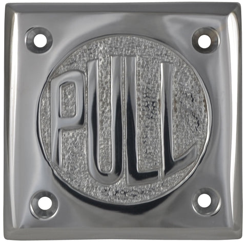 "2 3/4 Inch Brass Classic American ""PULL"" Plate (Polished Chrome Finish)"