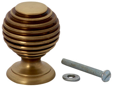 1 3/8 Inch Solid Brass Art Deco Round Knob (Antique Brass Finish)