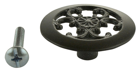 1 1/2 Inch Solid Brass Baroque/Rococo Knob (Oil Rubbed Bronze Finish)