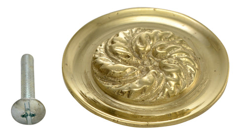 1 4/5 Inch Solid Brass Florid Leaf Knob (Polished Brass Finish)