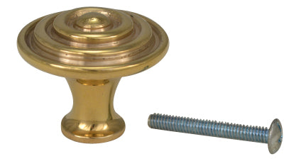 1 1/2 Inch Solid Brass Concentric Circle Cabinet Knob (Polished Brass Finish)