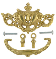 4 1/4 Inch Solid Brass Baroque Rococo Lamp Bail Pull (Polished Brass Finish)
