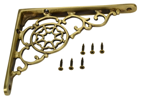 6 3/4 Inch Solid Brass Star Shape Shelf Bracket (Antique Brass Finish)