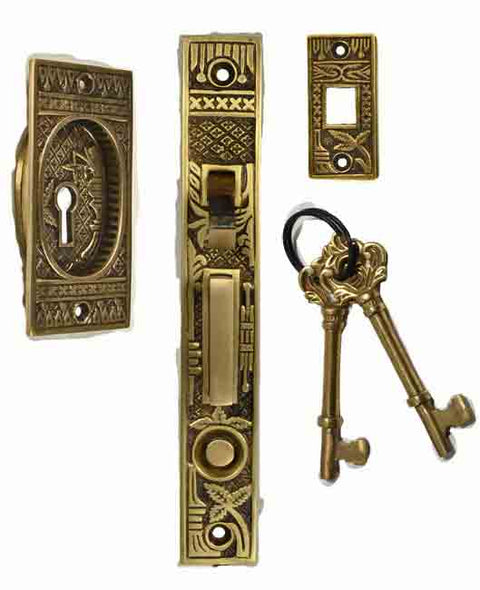 Broken Leaf Single Pocket Privacy (Lock) Style Door Set (Antique Brass)