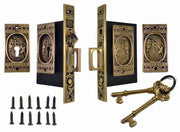 Broken Leaf Double Pocket Privacy (Lock) Style Door Set (Antique Brass)