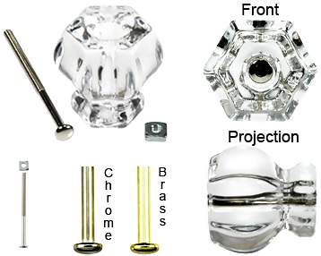 1 Inch Crystal Clear Cabinet Knobs