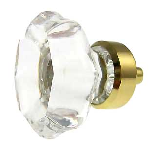 1 3/8 Inch Crystal Octagon Old Town Cabinet Knob (Polished Brass Base)