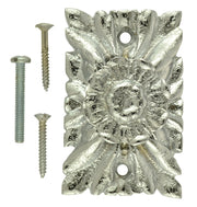 3 Inch Solid Brass Romanesque Floral Knob (Polished Chrome Finish)