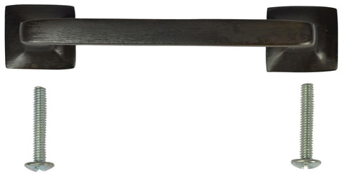 4 1/4 Inch Overall (3.25 Inch c-c) Solid Brass Square Traditional Pull (Oil Rubbed Bronze Finish)