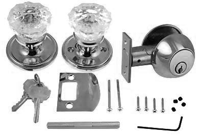 Victorian Back Plate Entryway Set (Polished Chrome Finish)