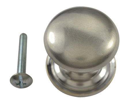 1 1/2 Inch Solid Brass Round Button Knob (Brushed Nickel Finish)