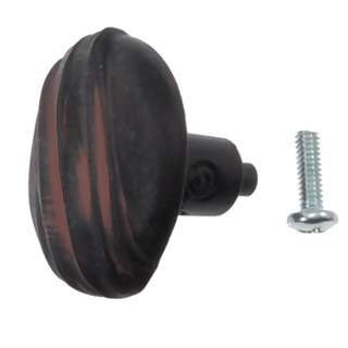 1 1/4 Inch Solid Pewter Hannah Style Knob (Black Terra Cotta Finish)