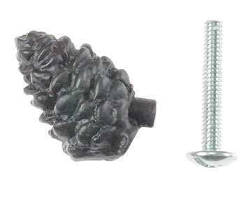 1 1/4 Inch Solid Pewter Pine Cone Knob (Matte Black Finish)
