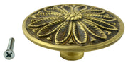 2 3/5 Inch Solid Brass Floral Leaf Cabinet Knob (Antique Brass Finish)