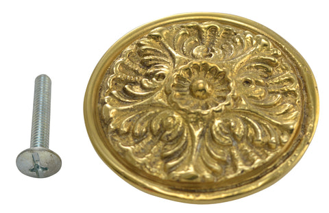 2 Inch Solid Brass Victorian Floral Knob (Polished Brass Finish)