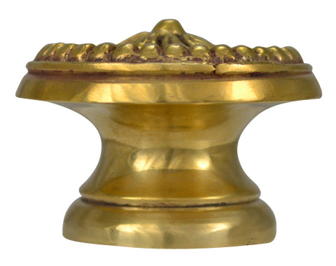 1 1/2 Inch Solid Brass Victorian Beaded Swirl Knob (Polished Brass Finish)