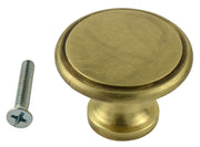 1 1/2 Inch Brass Flat Top Cabinet Knob (Antique Brass Finish)