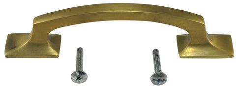 5 1/4 Inch Overall (3 3/4 Inch c-c) Traditional Solid Brass Pull (Antique Brass Finish)