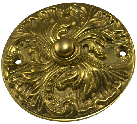Solid Brass Romanesque Doorbell Push (Polished Brass Finish)