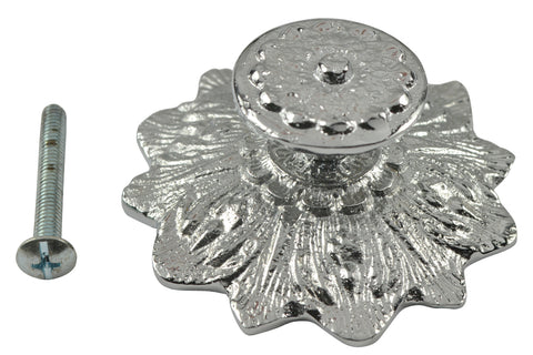 2 2/5 Inch Solid Brass Victorian Sunflower Knob Brushed Nickel Finish