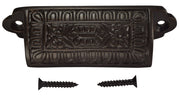 3 5/8 Inch Overall (3 Inch c-c) Traditional Square Eastlake Style Bin Pull (Oil Rubbed Bronze  Finish)