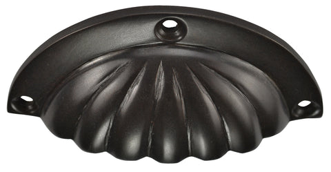 3 1/2 Inch Overall (3 Inch c-c) Solid Brass Scalloped Cup Pull (Oil Rubbed Bronze Finish)