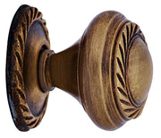 1 Inch Solid Brass Georgian Roped Round Knob (Antique Brass Finish)