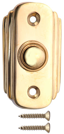 2 1/2 Inch Solid Brass Art Deco Doorbell Button (Polished Brass Finish)