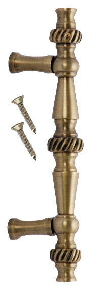 5 Inch Overall (3 Inch c-c) Solid Brass Georgian Roped Style Pull (Antique Brass Finish)