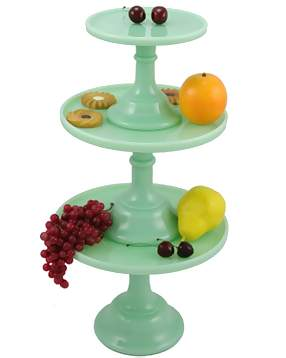 Set of Three Tiered Cake Plates ( Jadeite Glass)