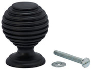1 3/8 Inch Solid Brass Art Deco Round Knob (Oil Rubbed Bronze)