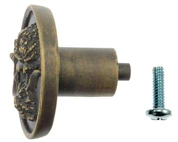 1 7/8 Inch Solid Pewter Carnation Flower Knob (Right Facing, Rubbed Bronze Finish)