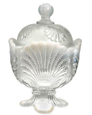 Crystal Opalescent Shell Pattern: Handled Creamer Dish & Matching Sugar