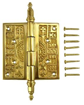3 1/2 x 3 1/2 Inch Steeple Tipped Victorian Solid Brass Hinge (Polished Brass Finish)