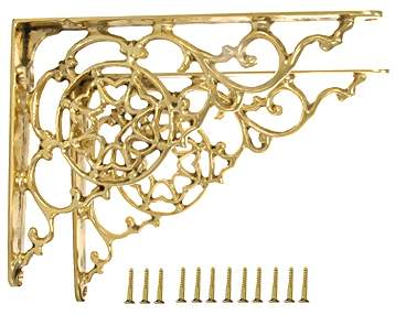 Pair 7 3/4 Inch Solid Brass Star Shape Shelf Bracket