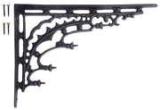 12 Inch Solid Iron Heavy Cast Eastlake Style Shelf Bracket (Flat Black Finish)