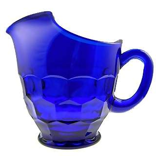 26 Ounce Cobalt Blue Glass Pitcher & Four Tumblers - Georgia Pattern