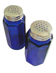 Salt and Pepper Shakers - Cobalt Blue Glass Panel Pattern