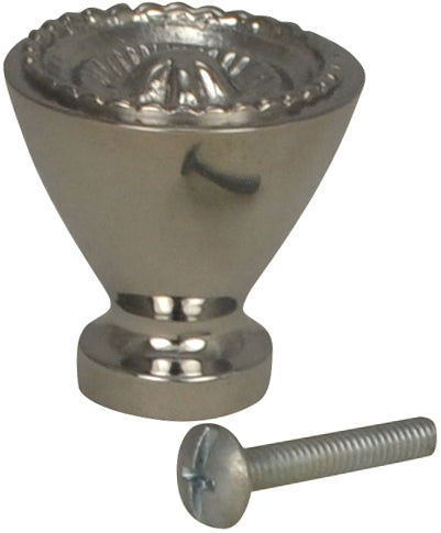1 1/4 Inch Solid Brass Beaded Star Round Knob (Polished Chrome Finish)