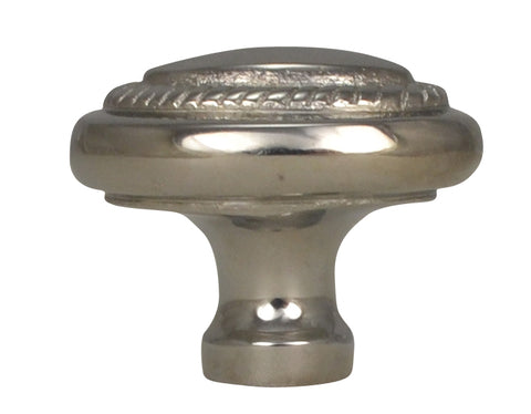 1 1/2 Inch Solid Brass Georgian Roped Egg Shaped Knob (Polished Chrome Finish)