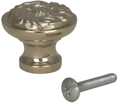 1 1/4 Inch Solid Brass Patterned Round Knob (Polished Nickel Finish)