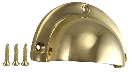 3 1/2 Inch Solid Brass Traditional Cup Pull (Polished Brass Finish)