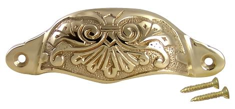 4 3/8 Inch Overall (3 3/4 Inch c-c) Solid Brass Ornate Victorian Scroll Cup or Bin Pull (Polished Brass Finish)
