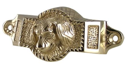 4 Inch Overall (3 1/2 Inch c-c) Solid Brass Golden Retriever Rectangular Cup Pull (Polished Brass Finish)