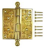 4 x 4 Inch Ball Tipped Victorian Solid Brass Hinge (Polished Brass)