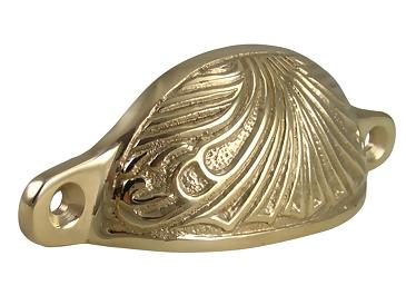 4 Inch Overall (3 2/5 Inch c-c) Solid Brass Art Deco Bin or Cup Pull (Polished Brass Finish)