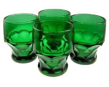 26 Ounce Emerald Green Glass Pitcher & Four Tumblers - Georgia Pattern