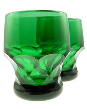 6 Ounce Emerald Green Glass Georgia Tumbler 3 1/4 Inch Tall - Set of Four