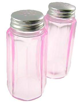 Salt and Pepper Shakers - Pink Depression Glass Panel Pattern